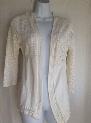 Cato Girl size 16 Ivory 3/4 Open Front Thin Knit Cardigan Sweater