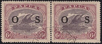 "Papua 6d Ash Bicolour lakatoi pair with OS opt, ""RIFT"", vfu"