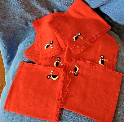 PENGUINS! 6 Cloth Napkins, Red with Hand Sewn Applique