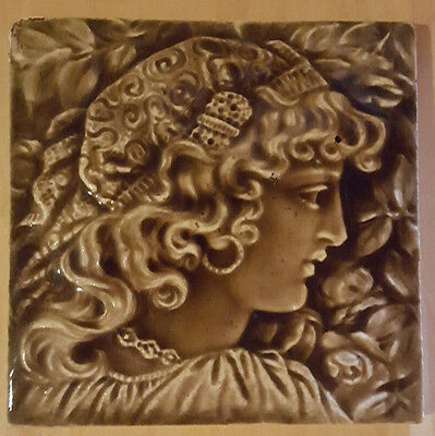 """Antique Providential Tile. Trenton, New Jersey. Young Girl's Silhouette. 6"""""""