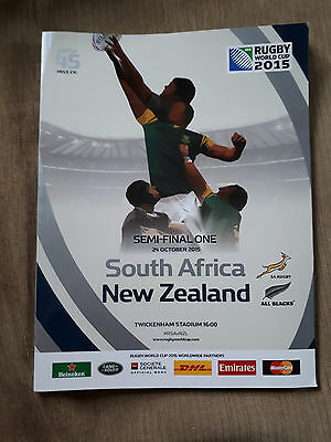 Rugby World Cup Programme. Semi Final. South Africa v New Zealand. Twickenham.