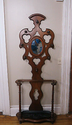 wood arts and crafts hall tree mission walnut price to sell - $500