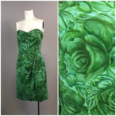 Vintage 1950s Green Rose Floral Sleeveless Strapless Short Wrap Style Dress S