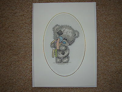 """Completed Cross Stitch Card 8"""" x 6 """" Tatty Teddy with Rabbit"""