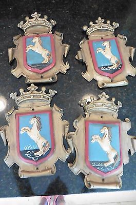 4 VNTG Wooden Crests Royal Knight Horse crown Wall Art hand carved painted SPAIN