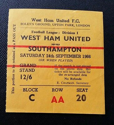1966/67  Division 1 WEST HAM UTD v SOUTHAMPTON   original match  ticket