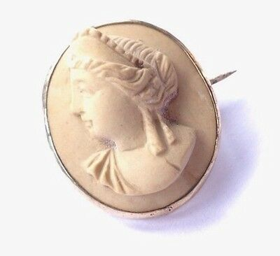 Antique Victorian Gold Tone Lava Cameo Brooch