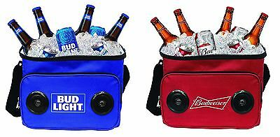 Budweiser or Bud Light Soft Cooler Bag with Built in Bluetooth Speakers