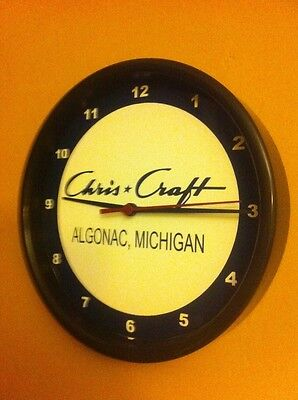 Chris Craft Algonac Wood Boat Logo Garage Advertising Wall Clock Man Cave Sign