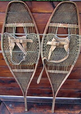 VINTAGE 1900's RARE INDIAN SNOWSHOES SNOW SHOES VERY FINE WEBBING PERFECT OLD