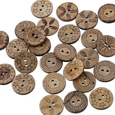 50 Pcs Mixed Pattern Coconut Shell 2 Holes Sewing Buttons DIY Scrapbooking 18mm