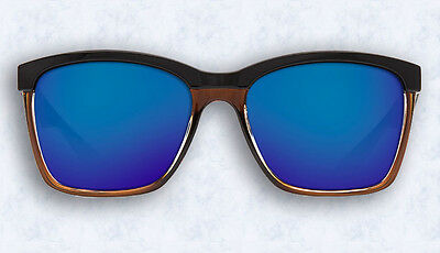 0d499e14c4 COSTA DEL MAR SUNGLASSES NEW Anaa Shiny Black on Brown Blue Mirror Glass  (W580