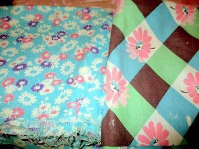 Pair Of Cotton Floral Feed Sacks Blues And Pinks