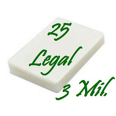25 pack LEGAL SIZE  Laminating Laminator Pouches Sheets  9 x 14-1/2   3 Mil...