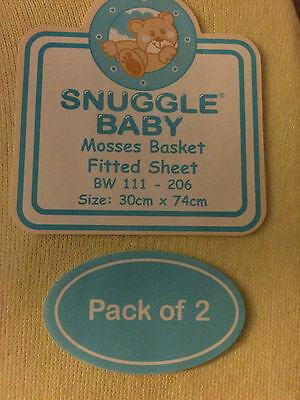 Nursery Baby Bedding 2 x Moses Basket Fitted Sheet Lemon 100% Cotton