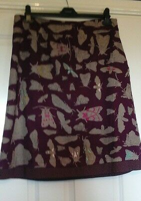 White Stuff purple skirt - embroidered moth print size 14