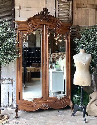 Original vintage French Louis XV Double armoire with Mirrored doors