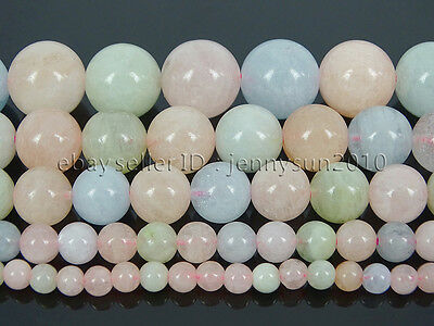 Natural Colorful Morganite Gemstone Round Beads 15.5'' 4mm 6mm 8mm 10mm 12mm