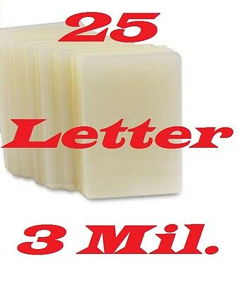 25 LETTER Laminating Laminator Pouches Sheets 9 x 11-1/2, 3 Mil