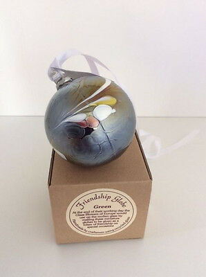 Milford Friendship globe  ~ Hand made with recycled glass ~ Green frosted/Boxed