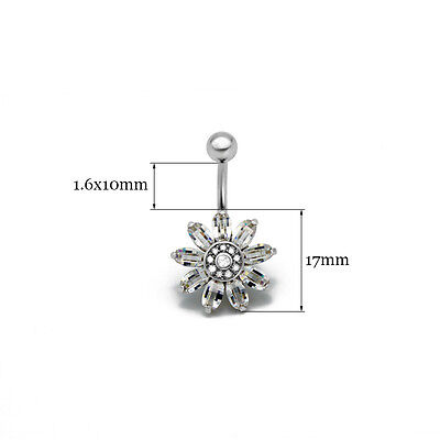 NSD infoAUS Belly button rings[Blooming Sunflower] Navel piercing body jewelry
