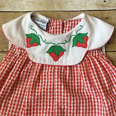Vintage Baby Girl Gingham Strawberry Romper Playsuit Size 24 Months