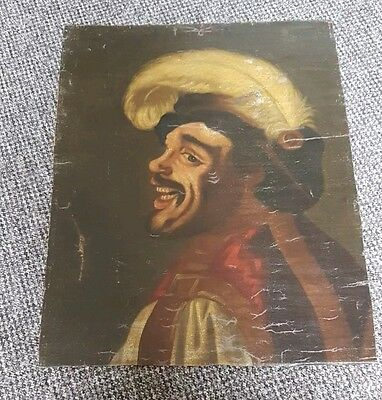 Antique 18th century laughing cavalier oil painting