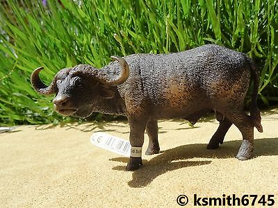 2010 Schleich MALE BUFFALO solid plastic toy figure wild zoo brown animal bison