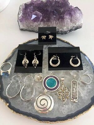 Sterling Silver Vintage Fine Jewelry Lot: Earrings,pendants,ring