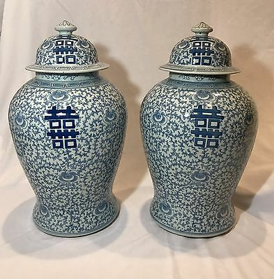 Large Pair Of Antique Chinese Blue And White Baluster Shaped Jars With Lids