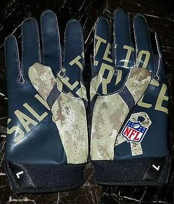 Dallas Cowboys Game Issued Nike Vapor Jet Salute to Service Gloves L 4.0 Camo