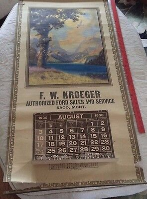 Vintage RARE 1930 Ford Car Advertising Calendar Saco Montana Gas & Oil Kroeger