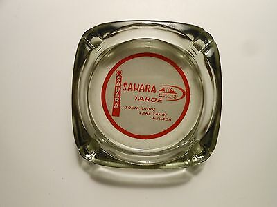 "VINTAGE CASINO ASHTRAY ""SAHARA TAHOE""  LAKE TAHOE, NEVADA   smoked glass"