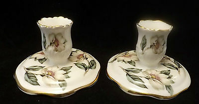 Pair of Vintage Crown Staffordshire Bone China Candlesticks