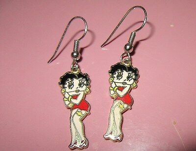 Vintage BETTY BOOP EARRINGS Enamel KFS Centennia PIERCED DANGLE
