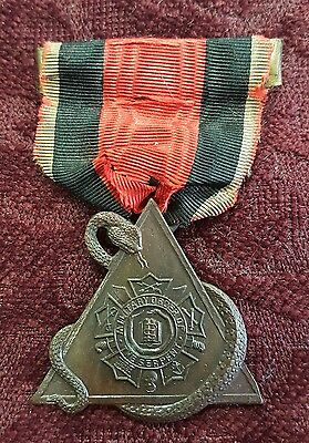 Spanish American War Military Order Of The Serpent 3Rd Degree Medal Badge Ribbon