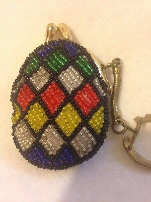 Vintage Diamond Design Small Coin Purse/Key Ring  From 50's Multi Color Beads