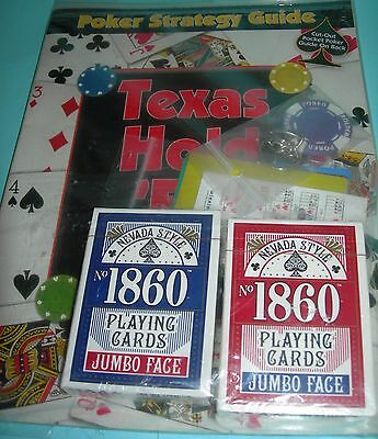 Poker Strategy Guide with two decks of cards~poker chip key chain~ 5 cut cards