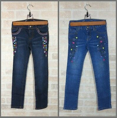 2 Faded Glory Skinny Jeans Girls Size 7 embroidered peace leopard embellished
