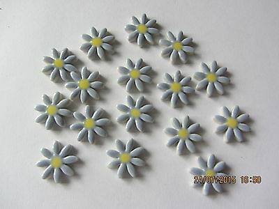 16  handmade ceramic mosaic pale blue flower daisy shape tiles