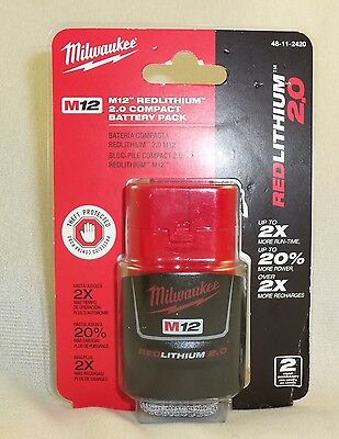 Milwaukee Tool Compact Battery Pack Red Lithium 2.0 M12 BRAND NEW Sealed