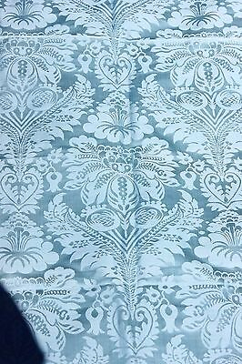Exquisite French Antique Blue Lyon Silk Damask Textile Fabric c1870~Frame Layout