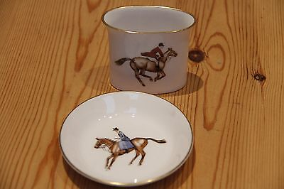 Royal Worcester pin dish & toothpick holder - horse riders/equestrian, show jump