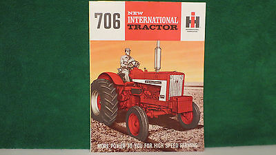 IHC Tractor brochure on  New Model 706 International Tractor from 1964, mint.