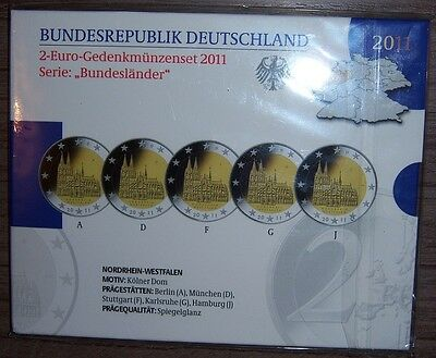 Coffret 5x 2€ Allemagne Cologne 2011 BE PP Proof