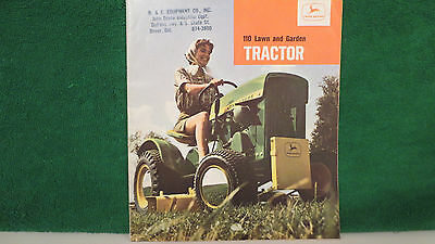 John Deere Tractor brochure on 110 L & G Tractor from 1966, very good shape.