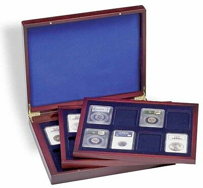 Wood Presentation Case Coin Collection Box Gift US American Silver Eagle Slabs