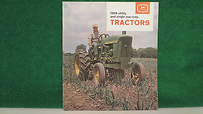 John Deere 1010 Tractor brochure on utility and single row crop. from 1963, mint