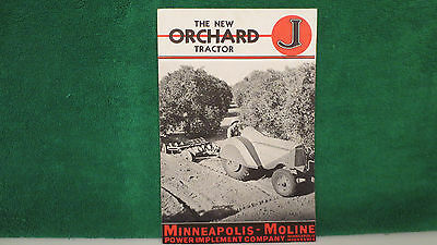Minneapolis Moline Tractor brochure on New Model J Orchard Tractor, 1937, rare.