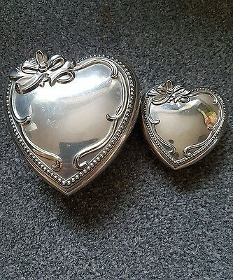 x2 silver plate love heart boxes